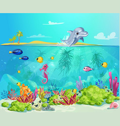 cartoon sea life template vector image vector image