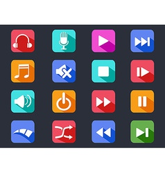 flat media button long shadow icons vector image vector image