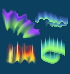 realistic detailed 3d northern aurora lights set vector image