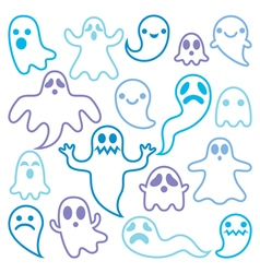 Scary ghosts design Halloween characters icons vector image vector image