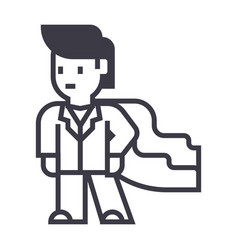 super hero businessman business line icon vector image