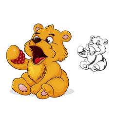teddy bear eats raspberries vector image