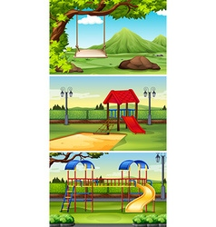 Three scenes of park and playground vector