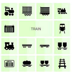 14 train icons vector image