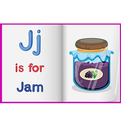 A picture of bottle of jam in book vector