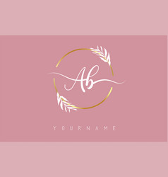 Ab a b letters logo design with golden circle vector