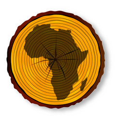 Africa map on timber section vector