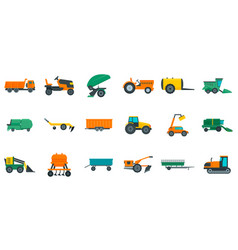 Agricultural machines icons set flat style vector
