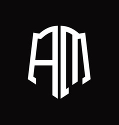Am logo monogram with shield shape ribbon design vector