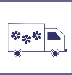 an isolated delivery truck with flowers vector image