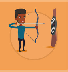 archer aiming with bow and arrow at the target vector image