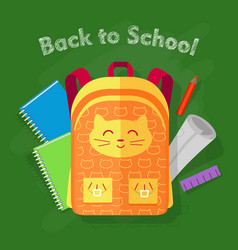 back to school orange bag on green background vector image