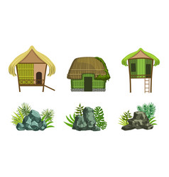 beach houses and rock stones set straw huts vector image