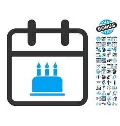 Birthday Cake Calendar Page Flat Icon With vector image