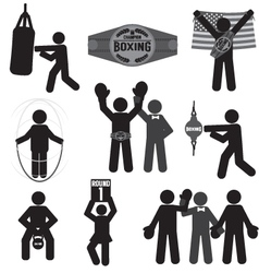 Black Symbol Boxing Icon Set vector image