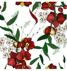 blooming realistic garden flowers handdrawn style vector image