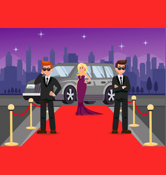 Bodyguards and female celebrity cartoon characters vector