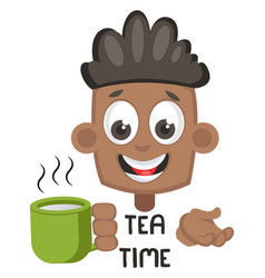 boy with hot tea on white background vector image