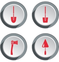 Building tools icon set Axe trowel shovel Work vector image