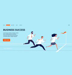 business success landing page office workers run vector image