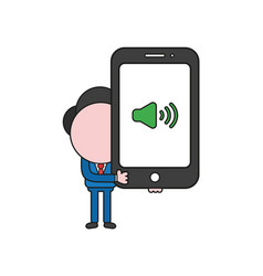 Businessman character holding smartphone with vector