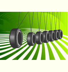 Car tires on green background vector