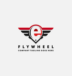 Cars logo wheel and wings with letter e vector