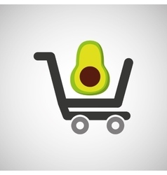 Cart buy avocado food vector