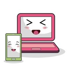 cartoon laptop and smartphone technology digital vector image