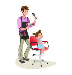 children teenager hairdresser character cute vector image
