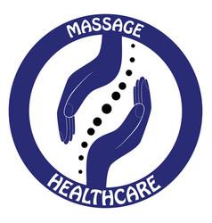 chiropractic logo hand design spine logo vector image