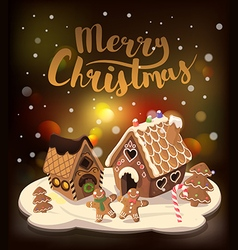 Christmas background with gingerbread houses vector