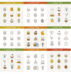 collection cute easter icons vector image