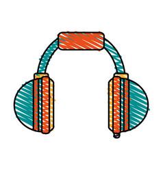 Color crayon stripe cartoon headphones for music vector