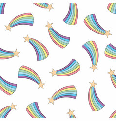 colorful seamless pattern with rainbow background vector image