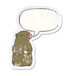 Cute cartoon bear and speech bubble distressed vector