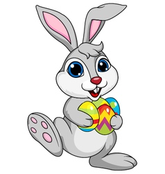 Cute rabbit with ester egg vector image