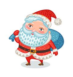 cute santa claus with full bag gifts christmas vector image