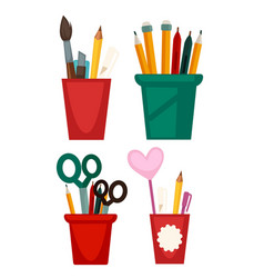 Different cups with pencils vector