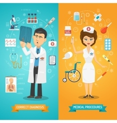 Doctor and nurse banner vector