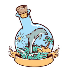 dolphins in a glass bottle vector image