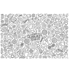 doodle cartoon set coronavirus theme objects vector image