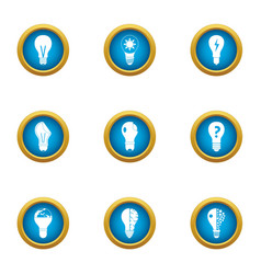 Electrolamp icons set flat style vector