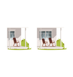 Empty patio with armchairs semi flat rgb color set vector