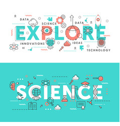 explore science word abstract thin line vector image