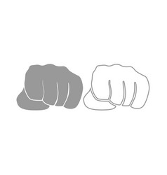fist icon grey set vector image