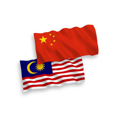 Flags malaysia and china on a white background vector