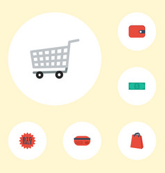 flat icons purse pouch trolley and other vector image