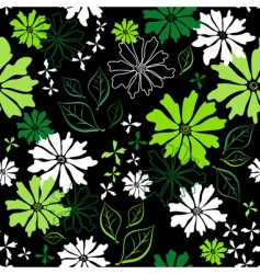 floral seamless dark pattern vector image vector image