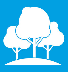 Forest trees icon white vector